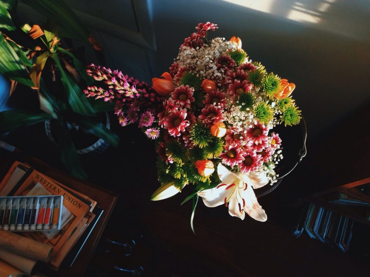 Photographing some of the bouquets I made for friends coming for brunch.