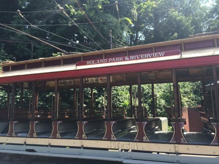 An open-air streetcar from 1902 at the Streetcar Museum on Jones Falls Road. (Christina Tkacik/Baltimore Sun)