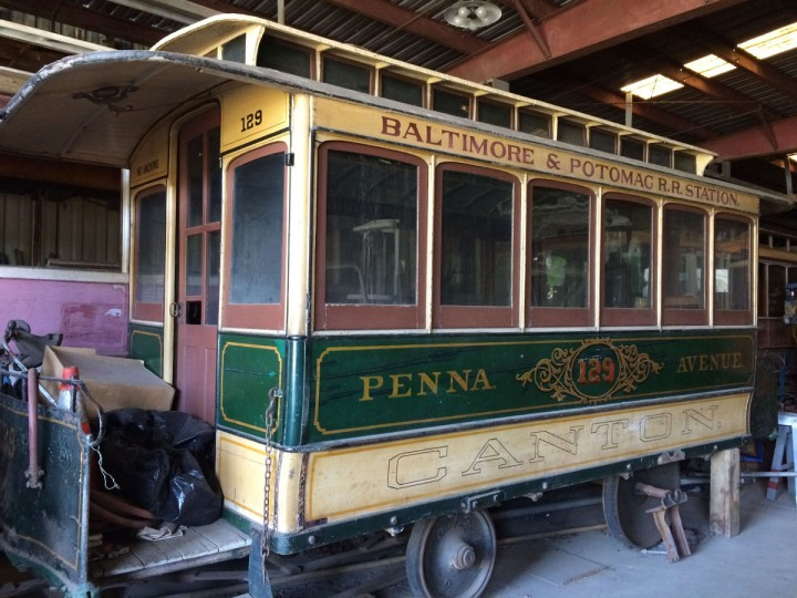 The garage at the Streetcar Museum on Jones Falls Road is a train enthusiast's delight, featuring gems like this car, originally pulled by horses. (Christina Tkacik/Baltimore Sun)
