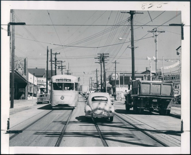 October 23, 1964 - YORK ROAD - A VANISHING SCENE -- Number 8 streetcars still are a familiar sight in Towson. Soon they will be replaced by buses. Photo by Sun Photographer Robert Kniesche.
