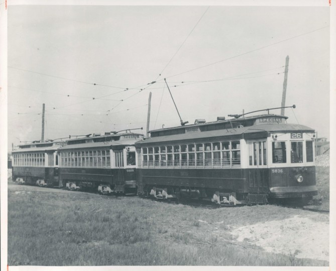 These cars, known as Red Rocket cars, carried workers to and from Sparrows Point during WWII. (Baltimore Sun)