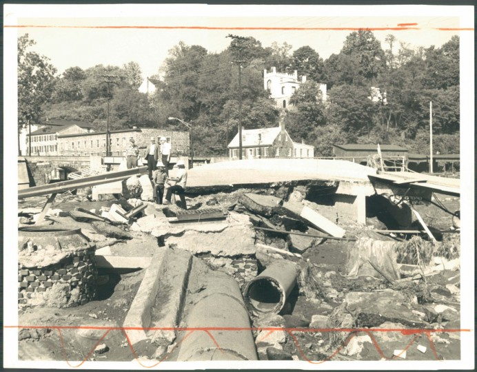 September 30, 1975: Bridges are out again, merchandise is ruined and the town is generally waterlogged after flooding, but Ellicott City already it starting to get it together again. (DiPaola/Baltimore Sun)