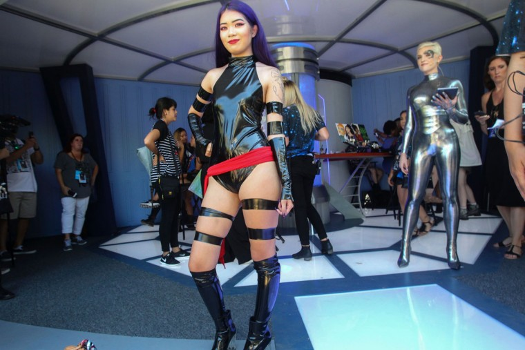 Megan Neikirk, 19, of Santa Barbara, California, shows off her character Psylocke from the movie X-Men during Comic-Con International 2016 in San Diego, California on July 21, 2016. (BILL WECHTER/AFP/Getty Images)