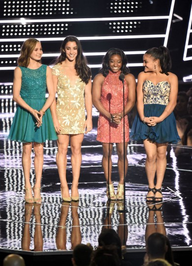 Madison Kocian, Aly Raisman, Simone Biles and Laurie Hernandez present Best Female Video onstage during the 2016 MTV Video Music Awards at Madison Square Garden on August 28, 2016 in New York City. (Photo by Michael Loccisano/Getty Images)