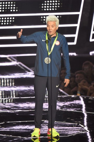 Jimmy Fallon presents onstage during the 2016 MTV Video Music Awards at Madison Square Garden on August 28, 2016 in New York City. (Photo by Michael Loccisano/Getty Images)
