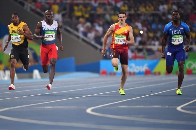 (FromL) Jamaica's Yohan Blake, Panama's Alonso Edward, Spain's Bruno Hortelano and USA's Justin Gatlin compete in the Men's 200m Semifinal during the athletics event at the Rio 2016 Olympic Games at the Olympic Stadium in Rio de Janeiro on August 17, 2016. (Olivier Morin/AFP/Getty Images)