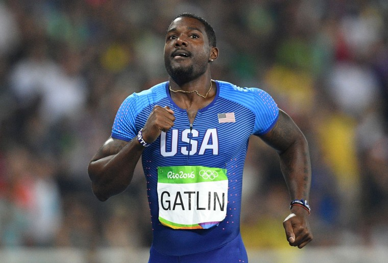 USA's Justin Gatlin competes in the Men's 200m Semifinal during the athletics event at the Rio 2016 Olympic Games at the Olympic Stadium in Rio de Janeiro on August 17, 2016. (Johannes Eisele/AFP/Getty Images)