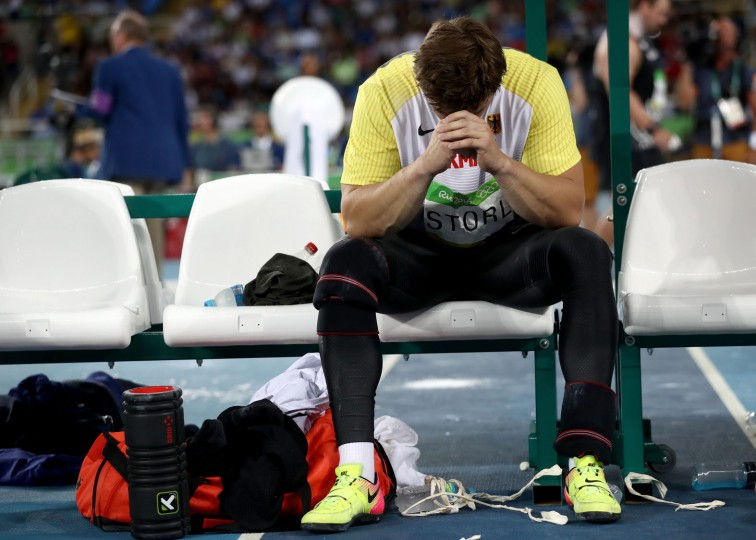 David Storl of Germany reacts during the Men's Shot Put Final on Day 13 of the Rio 2016 Olympic Games at the Olympic Stadium on August 18, 2016 in Rio de Janeiro, Brazil. (Photo by Alexander Hassenstein/Getty Images)