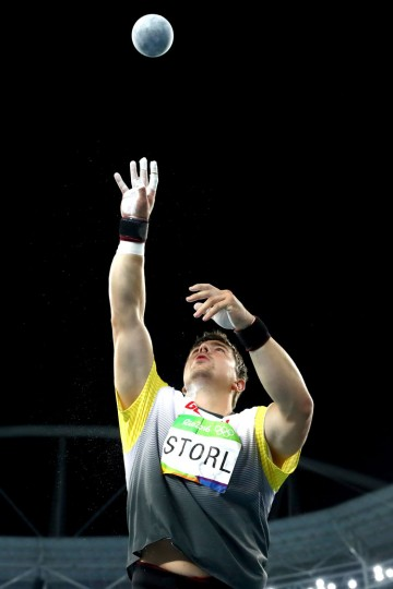 David Storl of Germany competes during the Men's Shot Put Final on Day 13 of the Rio 2016 Olympic Games at the Olympic Stadium on August 18, 2016 in Rio de Janeiro, Brazil. (Photo by Alexander Hassenstein/Getty Images)