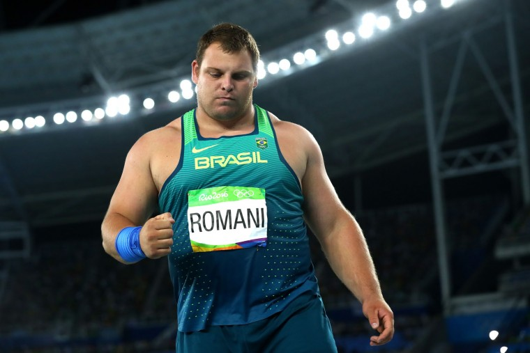 Darlan Romani of Brazil competes during the Men's Shot Put Final on Day 13 of the Rio 2016 Olympic Games at the Olympic Stadium on August 18, 2016 in Rio de Janeiro, Brazil. (Photo by Alexander Hassenstein/Getty Images)