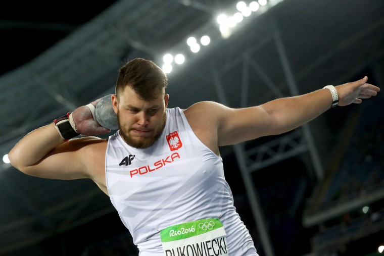 Konrad Bukowiecki of Poland competes during the Men's Shot Put Final on Day 13 of the Rio 2016 Olympic Games at the Olympic Stadium on August 18, 2016 in Rio de Janeiro, Brazil. (Photo by Alexander Hassenstein/Getty Images)