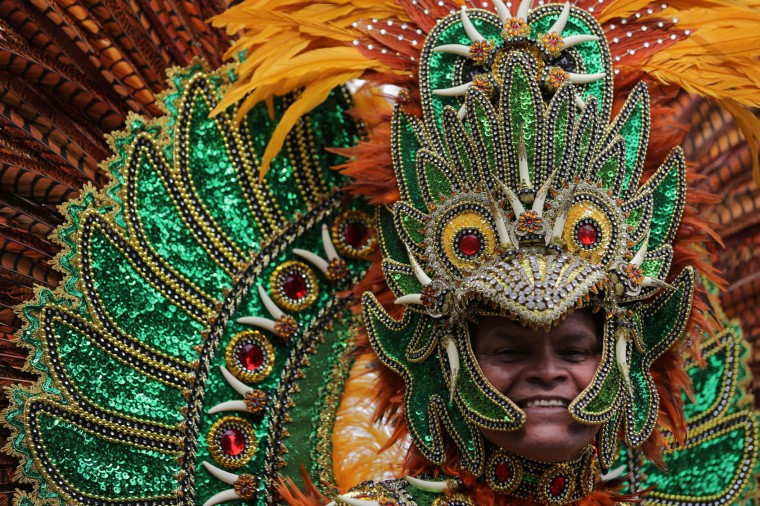 A performer in costume poses on the second day of the Notting Hill Carnival in west London on August 29, 2016. Nearly one million people are expected by the organizers Sunday and Monday in the streets of west London's Notting Hill to celebrate Caribbean culture at a carnival considered the largest street demonstration in Europe. (Daniel Leal-Olivas/AFP/Getty Images)