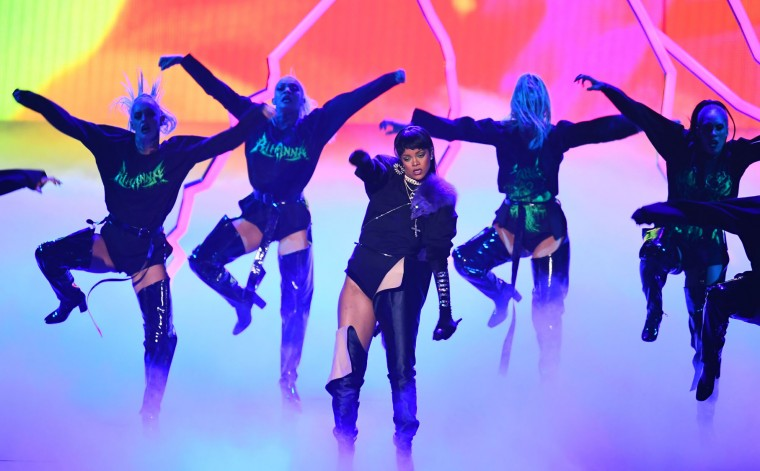 Rihanna performs during the 2016 MTV Video Music Awards August 28, 2016 at Madison Square Garden in New York. (Jewel Samad/AFP/Getty Images)