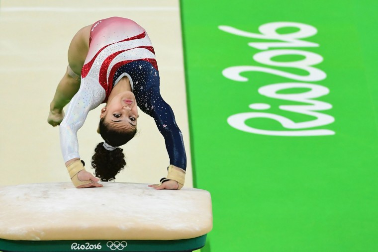 US gymnast Lauren Hernandez competes in the Vault event during the women's team final Artistic Gymnastics at the Olympic Arena during the Rio 2016 Olympic Games in Rio de Janeiro on August 9, 2016. (Emmanuel Dunand/AFP/Getty Images)