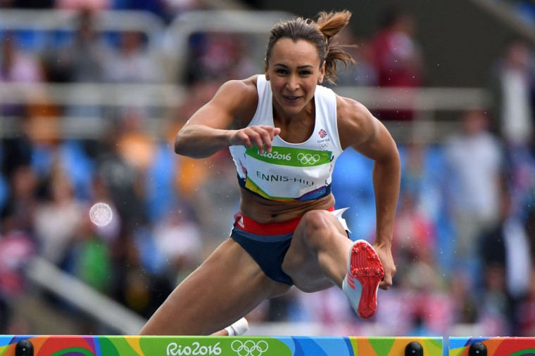 Britain's Jessica Ennis-Hill competes in the Women's Heptathlon 100m Hurdles during the athletics event at the Rio 2016 Olympic Games at the Olympic Stadium in Rio de Janeiro on August 12, 2016. / (AFP Photo/Olivier Morin)