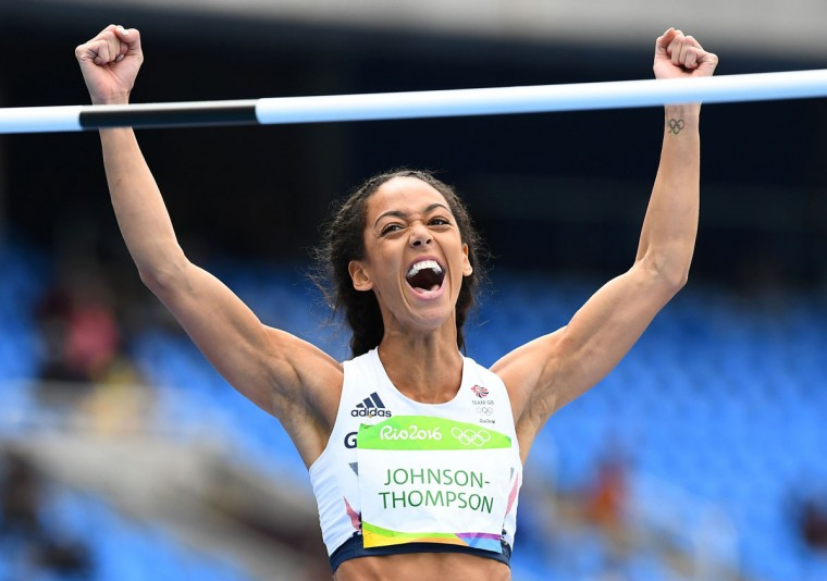 Britain's Katarina Johnson-Thompson reacts in the Women's Heptathlon High Jump during the athletics event at the Rio 2016 Olympic Games at the Olympic Stadium in Rio de Janeiro on August 12, 2016. / (AFP Photo/Franck Fife)