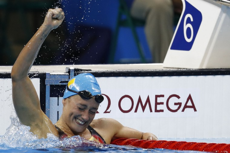 Spain's Mireia Belmonte Garcia celebrates after she won the Women's 200m Butterfly Final during the swimming event at the Rio 2016 Olympic Games at the Olympic Aquatics Stadium in Rio de Janeiro on August 10, 2016. (Odd Andersen/AFP/Getty Images)