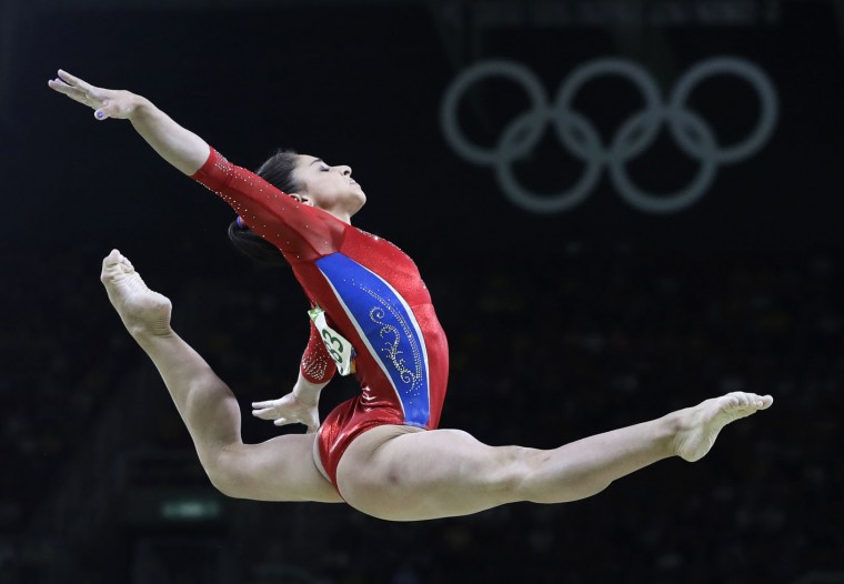 Russia's Seda Tutkhalyan performs on the balance beam during the artistic gymnastics women's team final at the 2016 Summer Olympics in Rio de Janeiro, Brazil, Tuesday, Aug. 9, 2016. (AP Photo/Rebecca Blackwell)