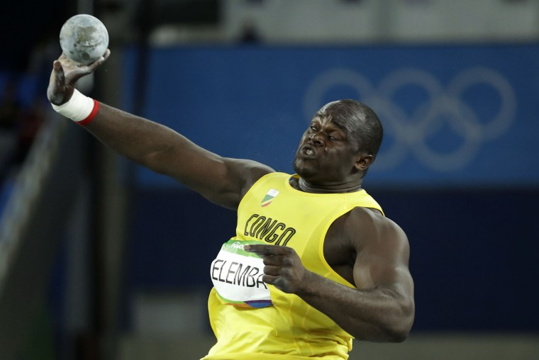 Congo's Franck Elemba makes an attempt in the men's shot put final during the athletics competitions of the 2016 Summer Olympics at the Olympic stadium in Rio de Janeiro, Brazil, Thursday, Aug. 18, 2016. (AP Photo/Matt Dunham)
