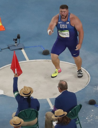 United States' Joe Kovacs reacts to a foul in the shot put finals during the athletics competitions of the 2016 Summer Olympics at the Olympic stadium in Rio de Janeiro, Brazil, Thursday, Aug. 18, 2016. (AP Photo/Morry Gash)