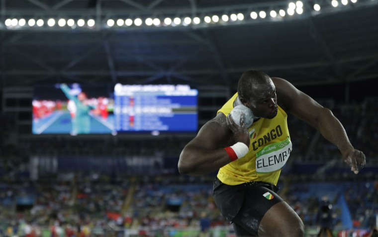 Congo's Franck Elemba makes an attempt in the men's shot put final during the athletics competitions of the 2016 Summer Olympics at the Olympic stadium in Rio de Janeiro, Brazil, Thursday, Aug. 18, 2016. (AP Photo/Matt Slocum)