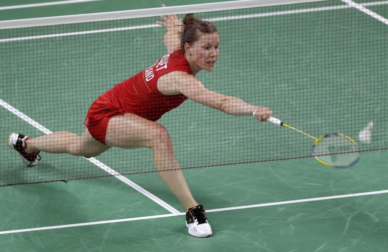 Switzerland's Sabrina Jaquet plays against Britain's Kirsty Gilmour during a women's singles match at the 2016 Summer Olympics in Rio de Janeiro, Brazil, Thursday, Aug. 11, 2016. (AP Photo/Kin Cheung)