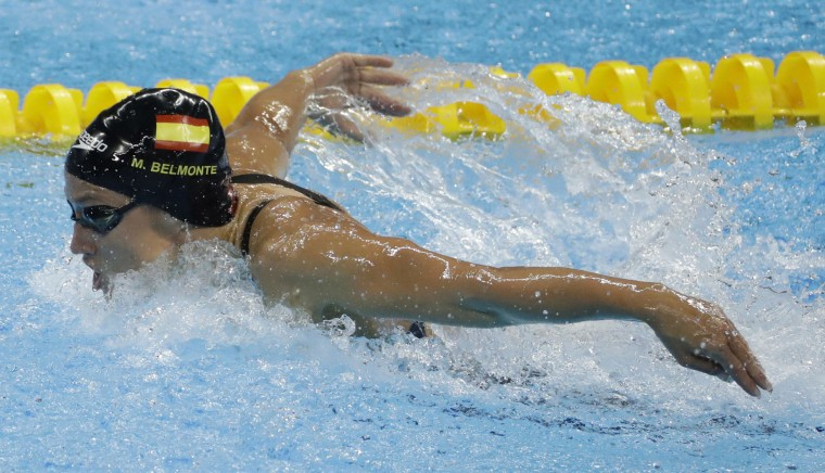 Spain's Mireia Belmonte Garcia competes in the final of the women's 200-meter butterfly during the swimming competitions at the 2016 Summer Olympics, Wednesday, Aug. 10, 2016, in Rio de Janeiro, Brazil. (AP Photo/Matt Slocum)
