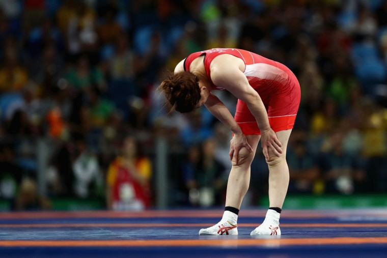 Saori Yoshida of Japan reacts after being defeated by Helen Louise Maroulis of the United States during the Women's Freestyle 53 kg Gold medal match on Day 13 of the Rio 2016 Olympic Games at Carioca Arena 2 on August 18, 2016 in Rio de Janeiro, Brazil. (Photo by Julian Finney/Getty Images)