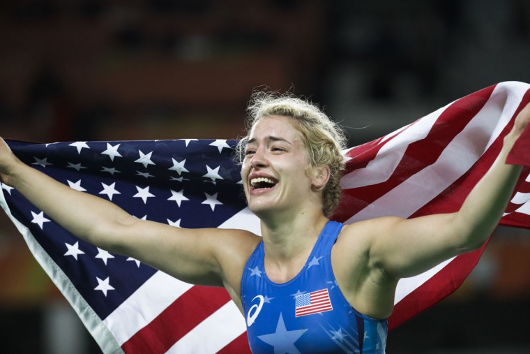 United States' Helen Louise Maroulis celebrates after winning the gold medal during the women's 53-kg freestyle wrestling competition at the 2016 Summer Olympics in Rio de Janeiro, Brazil, Thursday, Aug. 18, 2016. (AP Photo/Markus Schreiber)
