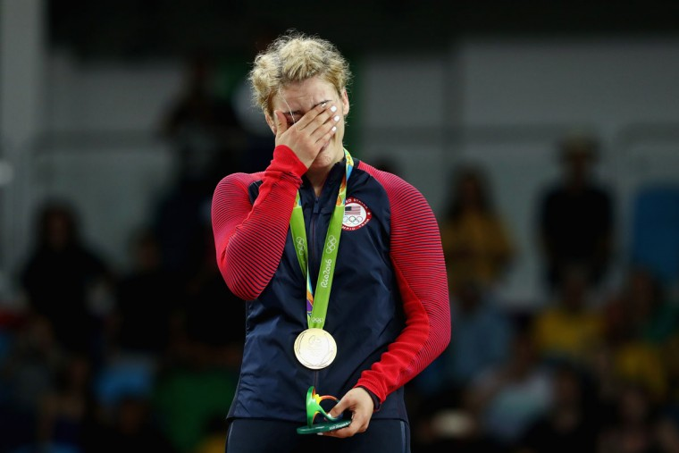 Gold medalist Helen Louise Maroulis of the United States reacts during the medal ceremony after the Women's Freestyle 53 kg competition on Day 13 of the Rio 2016 Olympic Games at Carioca Arena 2 on August 18, 2016 in Rio de Janeiro, Brazil. (Photo by Julian Finney/Getty Images)