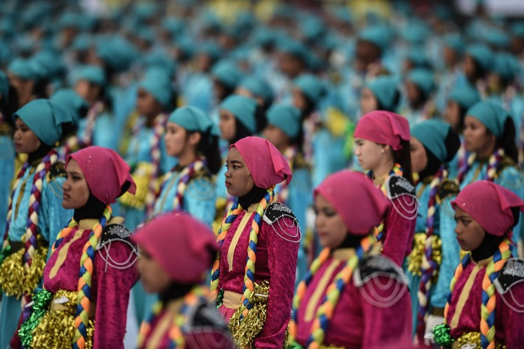 Malaysian schoolchildren perform during the 59th National Day celebrations at Independence Square in Kuala Lumpur on August 31, 2016. Malaysia celebrated its 59th National Day to commemorate the independence of the Federation of Malaya from British rule in 1957. (MOHD RASFAN/AFP/Getty Images)