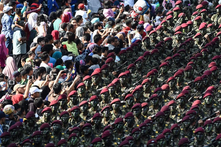 Malaysian soldiers from the 10th Paratrooper Brigade take part in the 59th National Day celebrations at Independence Square in Kuala Lumpur on August 31, 2016. Malaysia celebrated its 59th National Day to commemorate the independence of the Federation of Malaya from British rule in 1957. (MOHD RASFAN/AFP/Getty Images)