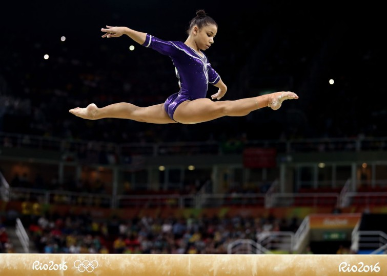 Flavia Saraiva of Brazil competes in the Balance Beam Final on day 10 of the Rio 2016 Olympic Games at Rio Olympic Arena on August 15, 2016 in Rio de Janeiro, Brazil. (Photo by Lars Baron/Getty Images)