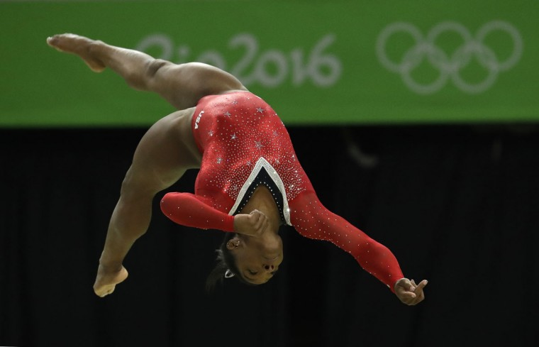 United States' Simone Biles performs on the balance beam during the artistic gymnastics women's apparatus final at the 2016 Summer Olympics in Rio de Janeiro, Brazil, Monday, Aug. 15, 2016. (AP Photo/Dmitri Lovetsky)