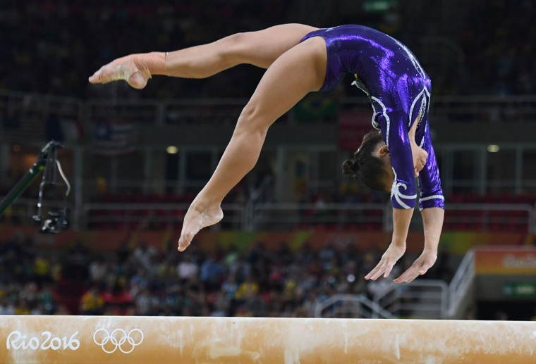 Brazil's Flavia Saraiva competes in the women's balance beam event final of the Artistic Gymnastics at the Olympic Arena during the Rio 2016 Olympic Games in Rio de Janeiro on August 15, 2016. (TOSHIFUMI KITAMURA/AFP/Getty Images)