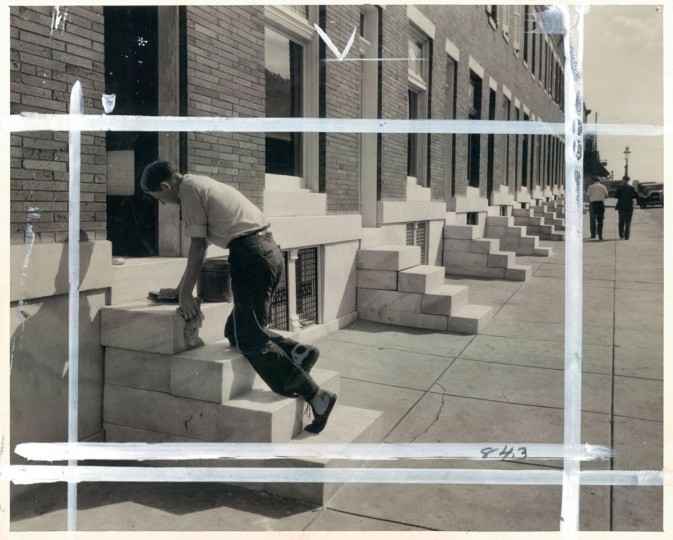 June 2, 1933- Washing the marble steps on North Pulaski Street. (Bodine/Baltimore Sun)