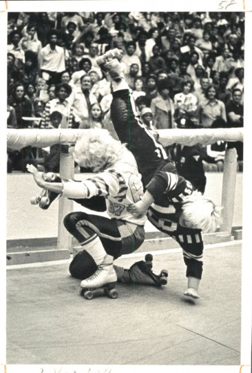 Jam at the roller derby, January 16, 1972. (Baltimore Sun)