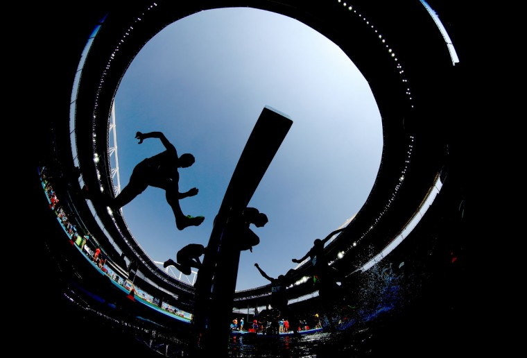 A view of competitors during the Men's 3000m Steeplechase Final on Day 12 of the Rio 2016 Olympic Games at the Olympic Stadium on August 17, 2016 in Rio de Janeiro, Brazil. (Photo by Alexander Hassenstein/Getty Images)