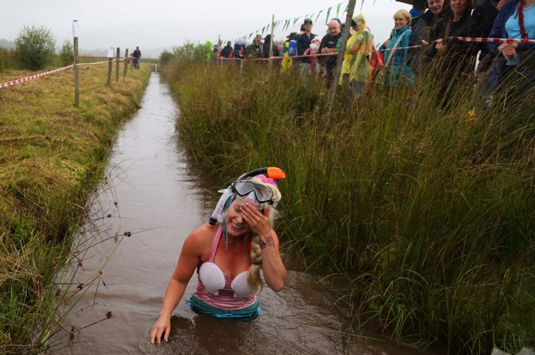 A competitor dressed as a mermaid wipes her brow as she completes the course during the World Bog Snorkelling Championships in Waen Rhydd peat bog at Llanwrtyd Wells, south Wales on August 28, 2016. Entrants must negotiate two lengths of a 60-yard trench through the peat bog in the quickest possible time without using any conventional swimming strokes. (GEOFF CADDICK/AFP/Getty Images)