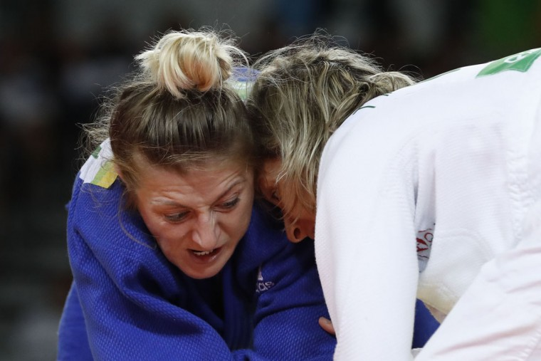 Portugal's Telma Monteiro (white) competes with Romania's Corina Caprioriu during their women's -57kg judo contest bronze medal A match of the Rio 2016 Olympic Games in Rio de Janeiro on August 8, 2016. (JACK GUEZ/AFP/Getty Images)