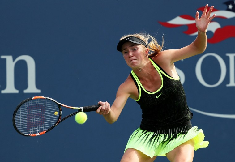 Elina Svitolina of the Ukraine returns a shot to Petra Kvitova of the Czech Republic during her third round Women's Singles match on Day Five of the 2016 US Open at the USTA Billie Jean King National Tennis Center on September 2, 2016 in the Flushing neighborhood of the Queens borough of New York City. (Photo by Al Bello/Getty Images)