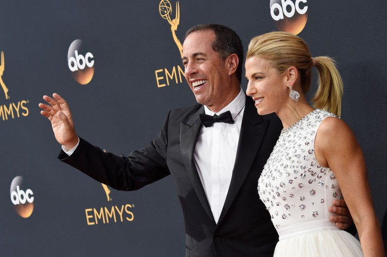 LOS ANGELES, CA - SEPTEMBER 18: Comedian Jerry Seinfeld (L) and Jessica Seinfeld attend the 68th Annual Primetime Emmy Awards at Microsoft Theater on September 18, 2016 in Los Angeles, California. (Photo by Frazer Harrison/Getty Images)