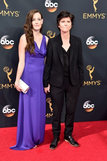 LOS ANGELES, CA - SEPTEMBER 18: Actress Stephanie Allynne (L) and comedian Tig Notaro attend the 68th Annual Primetime Emmy Awards at Microsoft Theater on September 18, 2016 in Los Angeles, California. (Photo by Alberto E. Rodriguez/Getty Images)