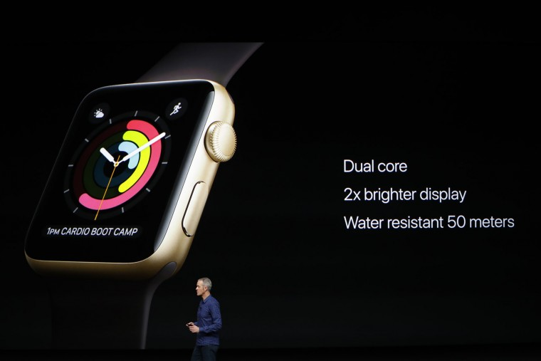 Apple COO Jeff Williams speaks on stage during a launch event on September 7, 2016 in San Francisco, California. Apple Inc. unveiled the latest iterations of its smart phone, the iPhone 7 and 7 Plus, the Apple Watch Series 2, as well as AirPods, the tech giant's first wireless headphones. (Photo by Stephen Lam/Getty Images)