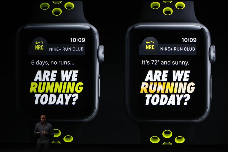 Nike President Trevor Edwards speaks on stage during an Apple launch event on September 7, 2016 in San Francisco, California. Apple Inc. unveiled the latest iterations of its smart phone, the iPhone 7 and 7 Plus, the Apple Watch Series 2, as well as AirPods, the tech giant's first wireless headphones. (Photo by Stephen Lam/Getty Images)