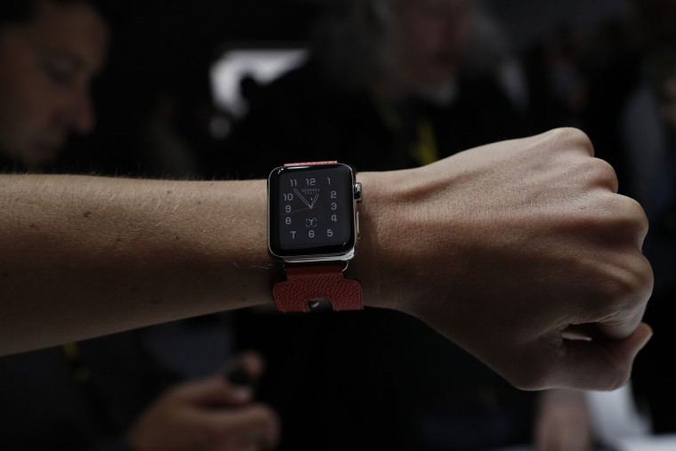 An Apple Watch Hermes is seen during a launch event on September 7, 2016 in San Francisco, California. Apple Inc. unveiled the latest iterations of its smart phone, the iPhone 7 and 7 Plus, the Apple Watch Series 2, as well as AirPods, the tech giant's first wireless headphones. (Photo by Stephen Lam/Getty Images)