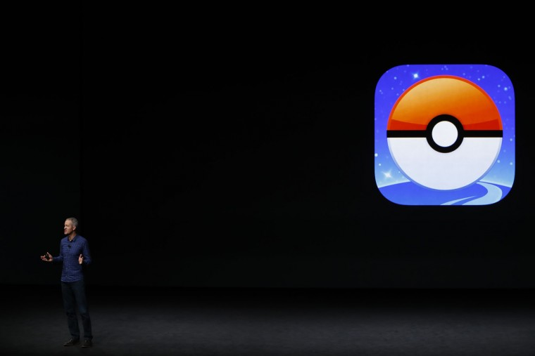 Apple COO Jeff Williams announces Pokemon Go for Apple Watch during a launch event on September 7, 2016 in San Francisco, California. Apple Inc. unveiled the latest iterations of its smart phone, the iPhone 7 and 7 Plus, the Apple Watch Series 2, as well as AirPods, the tech giant's first wireless headphones. (Photo by Stephen Lam/Getty Images)