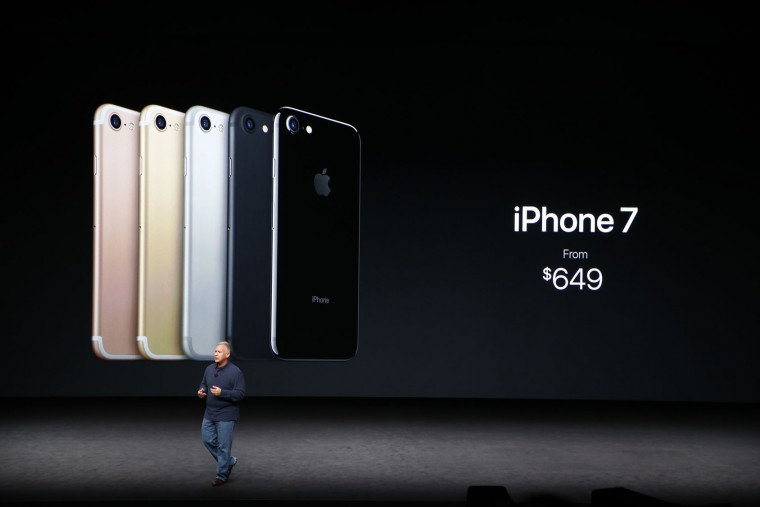 Apple Senior Vice President of Worldwide Marketing Phil Schiller speaks on stage during a launch event on September 7, 2016 in San Francisco, California. Apple Inc. is expected to unveil latest iterations of its smart phone, forecasted to be the iPhone 7. The tech giant is also rumored to be planning to announce an update to its Apple Watch wearable device. (Photo by Stephen Lam/Getty Images)
