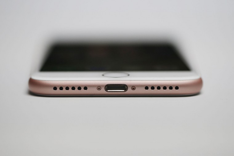 A new Apple iPhone 7 is seen during a launch event on September 7, 2016 in San Francisco, California. Apple Inc. unveiled the latest iterations of its smart phone, the iPhone 7 and 7 Plus, the Apple Watch Series 2, as well as AirPods, the tech giant's first wireless headphones. (Photo by Stephen Lam/Getty Images)