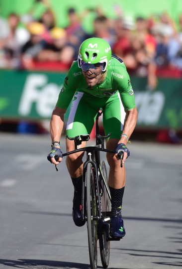 "Movistar's Spanish cyclist Alejandro Valverde crosses the finish line during the 19th stage of the 71st edition of ""La Vuelta"" Tour of Spain, a 39km individual time-trial between Javea and Calpe on September 9, 2016. (Jose Jordan/AFP/Getty Images)"